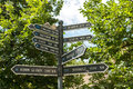 Direction signs indicate distances to different cities from debrecen hungary Stock Image