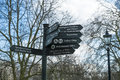 Direction signs post in hyde park london uk march march london Stock Photography