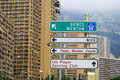 Direction signs on a post in Monte Carlo Stock Image