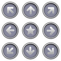 Directional arrow icons on modern vector buttons Stock Images