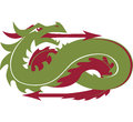 Directional dragon a green with arrows pointing east and west Royalty Free Stock Photography