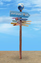 Directions road sign for places Royalty Free Stock Photo
