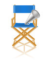 Director chair and megaphone on white Stock Photography