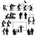 Director making filming movie production actor a set of pictograms representing film scenario with the crews and actors Stock Images
