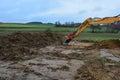 Dirt bulldozer construction foundation Royalty Free Stock Photo