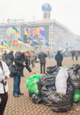 Dirt and mess in the center of kiev during the mass protests ukraine dec broadcast speech by president yanukovych is visible Royalty Free Stock Photos