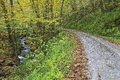 Dirt road beside a creek gravel in the mountains in the fall Royalty Free Stock Photos