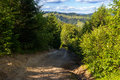 Dirt road descent from the mountain to the settlement in Carpathians, Ukraine. Royalty Free Stock Photo
