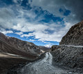 Dirt road in himalayas severe unpopulated spiti valley himachal pradesh india Stock Images