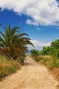 A dirt road leading to a secluded beach in hanioti greece Royalty Free Stock Image