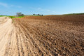 Dirt road between plowed fields in israel spring Stock Photo