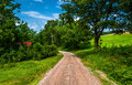 Dirt road in the rural countyside of southern york county pa pennsylvania Stock Image