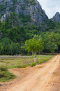 The dirt road to Khao Dang Viewpoint, Sam Roi Yod National park, Phra Chaup Khi Ri Khun Province in Middle of Thailand.