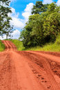 Dirt road track with bare earth red surface with visible vehicle tire tracks Royalty Free Stock Photo