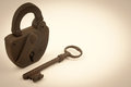 Dirty Antique Lock And Key Royalty Free Stock Photo