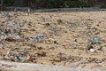 Dirty beach on the island of Little Andaman in the Royalty Free Stock Photo