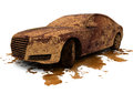 Dirty car over a splash Royalty Free Stock Photo