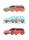 Dirty and clean shine car. Washing stages vector set