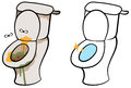 Dirty and clean toilet cartoon vector illustration of smelly hygienic Stock Photo