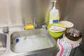 Dirty dishes in the kitchen Royalty Free Stock Photography