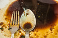 Dirty and empty finished plate with fork and spoon to be cleanse Royalty Free Stock Photo