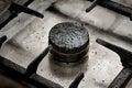 Dirty gas burner closeup Royalty Free Stock Photo