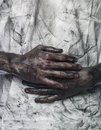Dirty hands and t-shirt Stock Image
