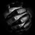 Dirty hands two clasped together Royalty Free Stock Image