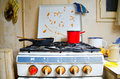 Dirty kitchen stove Royalty Free Stock Photos