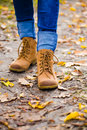 Dirty leather boots. Royalty Free Stock Photo