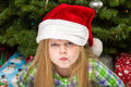 The dirty look at christmas young child giving a during time Royalty Free Stock Photos