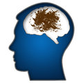 Dirty mind human head illustration with messy blot in brain Royalty Free Stock Photo