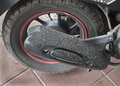 Dirty motocycle wheel a very Royalty Free Stock Images