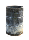Dirty oil barrel with clipping path isolated on white background Royalty Free Stock Image