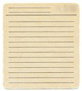 Dirty old yellowing blank index paper card isolated on white Royalty Free Stock Photo