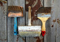 Dirty paintbrushes on background Royalty Free Stock Photo