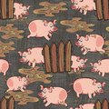 Dirty pigs on dark gray happy pink pig free run animal wildlife seamless pattern background Stock Photo