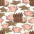 Dirty pigs free run on messy white happy pink pig animal wildlife seamless pattern background Royalty Free Stock Images