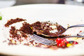 Dirty plate with chocolate remains and fruits Royalty Free Stock Photography