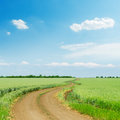 Dirty road in green agriculture field and blue sky with clouds o over it Stock Images