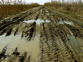 Dirty rural road with deep tire tracks and rain puddles Stock Photos