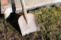 Dirty shovel tool. Spring, farming. Outdoor Royalty Free Stock Photo