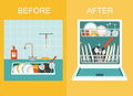 Dirty sink with kitchenware, utensil, dishes, dish detergent and a sponge.Open dishwasher with clean dishes. Flat vector