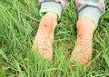Dirty soles of bare feet Royalty Free Stock Photo