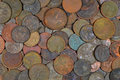 Dirty us coins found treasure hunting corroded and rusty with a metal detector Stock Image