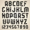 Dirty vector font grunge letters and numbers set of alphabet Royalty Free Stock Photos