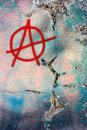 Dirty wall with anarchy symbol Royalty Free Stock Image