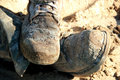 Dirty work boots Royalty Free Stock Photo