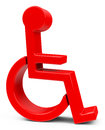 The disability d generated picture of a red disabled figure Stock Images