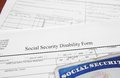 Disability form social security and social security card Stock Photography